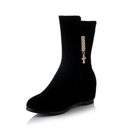 AgooLar Damen Reißverschluss Rein Mitte-Spitze Stiefel mit Metallstück, Schwarz, 34