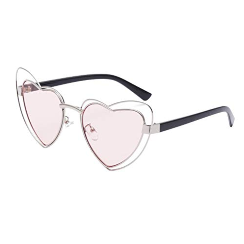 New Women Men Vintage Sunglasses LODDD Fashion Radiation Protection Heart Shaped Frame ()