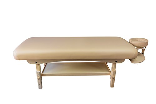 Spa Luxe Brand Stationary Massage Table with Headrest and Arm Shelf (BEIGE)