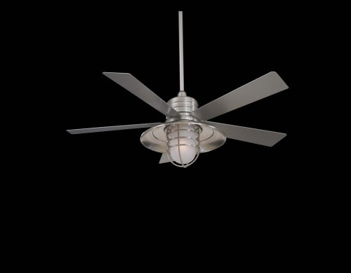 Minka-Aire F582-BNW Minka Aire One Light Outdoor Fan, Brushed Nickel ()