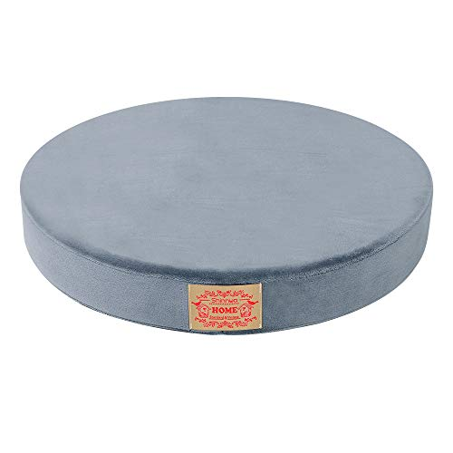 Shinnwa Polyester Supper Soft Cushion Round Memory Foam Seat Cushion Short Plush Lumbar Support Pillow Home Office Chair Pad Grey 16