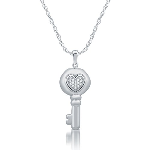 DeCarat Diamond Accent Sterling Silver Fashion Key Pendant (Sterling Silver Key Pendant With Diamond Accents)