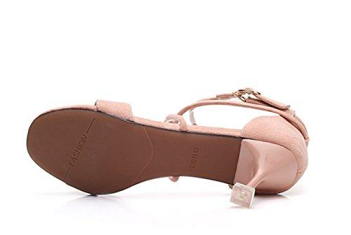 Zapatos Mujeres Mujer con de Sandalias de de Copa Zapatos para Negro Hebilla Huaishu Gamuza Cómodas Abierta Sandalias Chicas Vino Chanclas Cruz Mujer de de Tacón Alto Punta de Ex40wYcqH