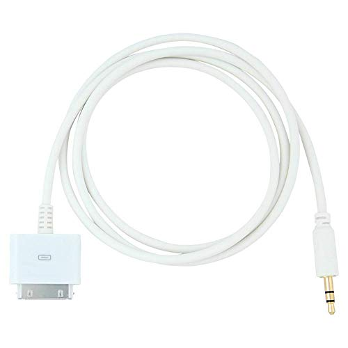 AMZ Wholesale 30 Pin Male Dock Docking Connection to 3.5mm Male Audio Output AUX Cable, White.