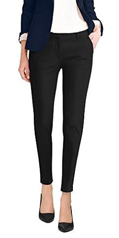 Super Comfy Flat Front Stretch Trousers Pants PW31200TT BLACK 13 (Petite Office Pants)