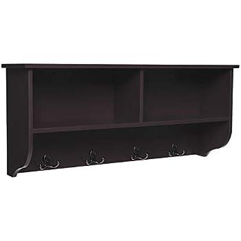 SONGMICS Wooden Entryway Hanging Shelf And 4 Dual Coat Hooks, Space Saving  Storage Cubby, Espresso ULES02BR, 31.5u201dL X 7.9u201dW X 13.8u201dH