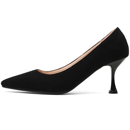 Elegant Toe Pumps on Slip Low Cut Kitten Pointed Office shoes KingRover Shoes Black1 Heels Women's Yw7aY5q