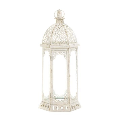 Koehler Graceful Distressed White Large Lantern ()