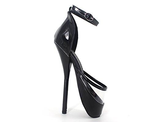 Fétiche Stieltto Ankle Verni Bottes Strap Ballet Sexy Wonderheel Cheville 18cm Femme Chaussures Cuir q5UWXRt
