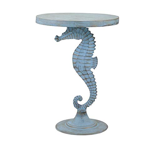 Imax 60358 Windsor Sea Horse Table - Teal Blue, Weathered Finish, Aluminum Decorative Table. Home Decor Accessories
