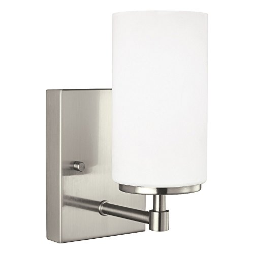 24601-962 Alturas One-Light Bath or Wall Sconce with Etched White Inside Glass Shade, Brushed Nickel Finish (Sea Gull Lighting Bathroom Bulbs)