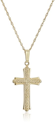 14k Yellow Gold Solid Embossed Stipple Cross Pendant Necklace, 20