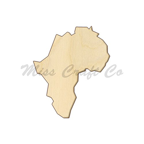 Africa Wood Shape Cutout, Wood Craft Shape, Unfinished Wood, DIY Project. All Sizes Available, Small to Big. Made in the USA. 12 X 10 INCHES
