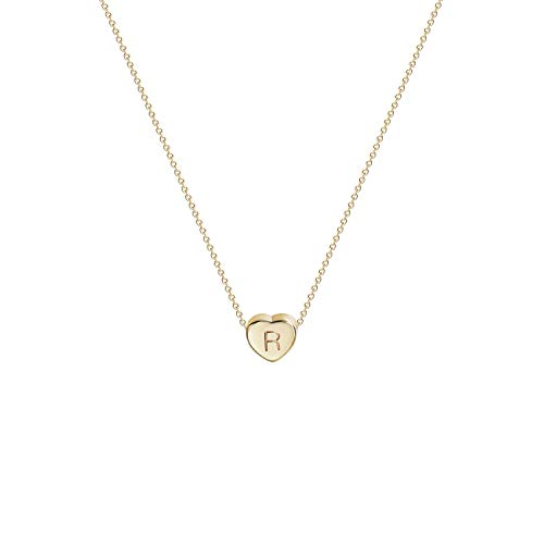 Tiny Gold Initial Heart Necklace-14K Gold Filled Handmade Dainty Personalized Letter Heart Choker Necklace Gift for Women Kids Child Necklace Jewelry Letter R -