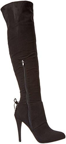 Nina Keely Spitz Faux Wildleder Mode-Knie hoch Stiefel True Black