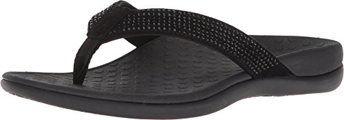 Vionic Women's Tide Rhinestones Toe-Post Sandal - Ladies Flip-Flop with Concealed Orthotic Arch Support Black Black 9 M US (Rhinestones Women Slippers)
