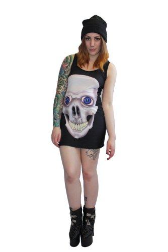 Diseño gótico diseño de calavera sonriente con un mechón largo sin mangas de mujer