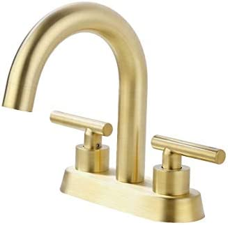 KES Brushed Gold Bathroom Faucet Modern 4 Inches Centerset Vanity Faucet Brass Construction Brushed Brass Finish, L4117LF-BZ