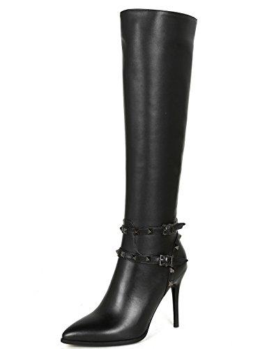 Nine Seven Genuine Leather Women's Pointed Toe Stiletto Heel Buckles Elegant Handmade Dressy Knee High Boots with Rivets (7.5, Black)