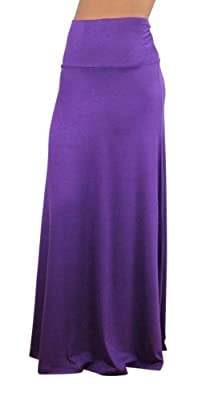 Free to Live Women's Foldover High Waisted Flowy Maxi Skirt Made in USA
