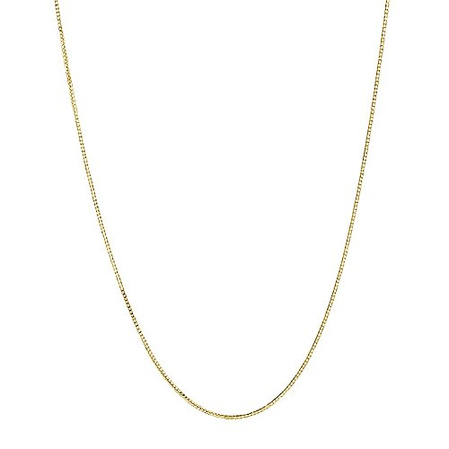 Children's 14K Yellow Gold Box Chain 0.7 Mm Baby Necklace 13 Inches Lobster Lock