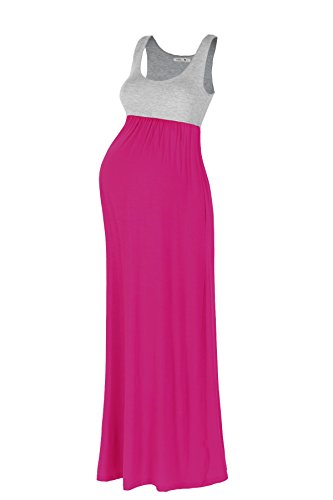 [Beachcoco Women's Maternity Contrast Maxi Tank Dress (XL, H.Grey/Hot Pink)] (Maternity Jersey Dress)
