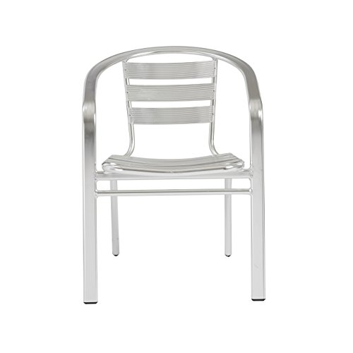 Eurø Style Sadie Side Dining Chair with Arms, Set of 6, Aluminum