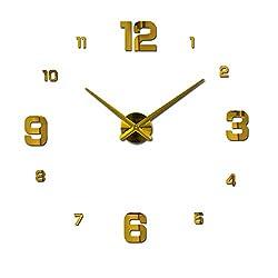 New Real Metal 3D DIY Acrylic Mirror Wall Clock Watch Clocks Home Decoration Modern Needle Quartz Stickers,Gold,37Inch