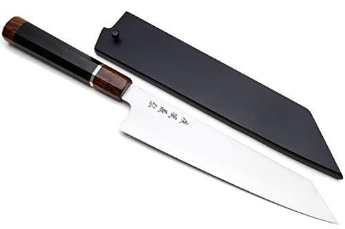 (Yoshihiro Hayate ZDP-189 Super High Carbon Stainless Steel Kiritsuke Knife Octagonal Ebony Wood with Sterling Silver Ring (10.5 IN))