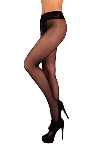 Low Waist Pantyhose Tights Sheer & Opaque Hipsters for Women (M, Nero) (Low Waist Hipster)