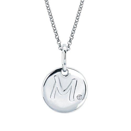 (Little Diva Diamonds Sterling Silver Diamond Accent Disc 'M' Initial Pendant Necklace)