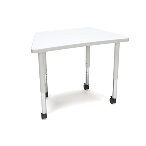 OFM Trap-SLC-WHT Adapt Series Trapezoid Student Activity Table - Height Adjustable Desk with Casters 20-28″, (Student Desk Station)
