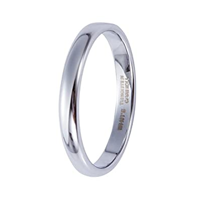 Blue dream 3mm White Tungsten Carbide Rings Polished Classic Wedding Engagement Band save more