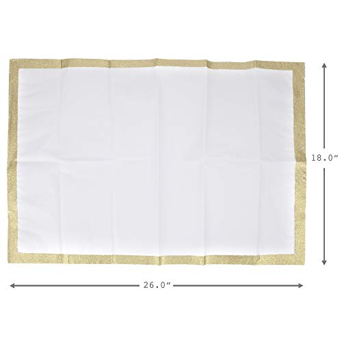 Hallmark Signature Tissue Paper (White with Gold Glitter Edge) for Christmas, Hanukkah, Holidays or Any Occasion
