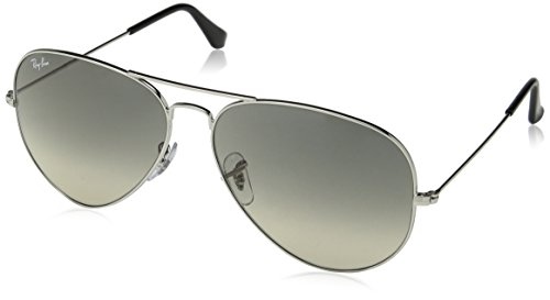 (Ray-Ban RB3025 Aviator Sunglasses, Silver/Grey Gradient, 62 mm)