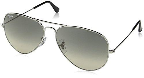 - Ray-Ban RB3025 Aviator Sunglasses, Silver/Grey Gradient, 62 mm