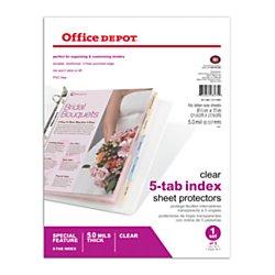 Office Depot Tabbed Sheet Protectors, 5-Tab, Clear, - Tabbed Protectors Sheet