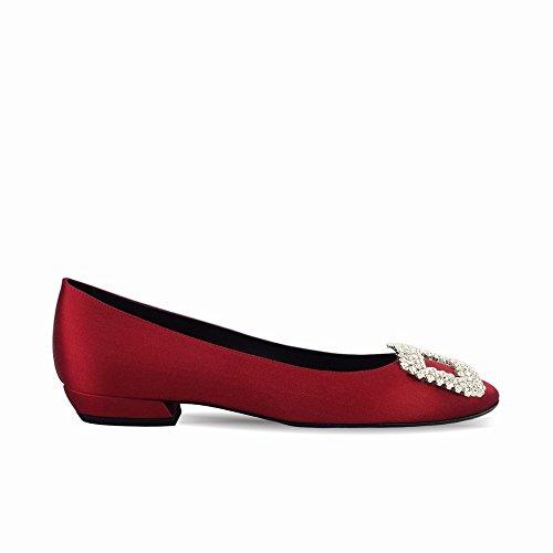 Las Y Zapatos Zapatillas De Planos Dhg Con Primavera Hebilla re 40 Redondas Verano Taladro Poco Ballet Trabajan 14Sddzq