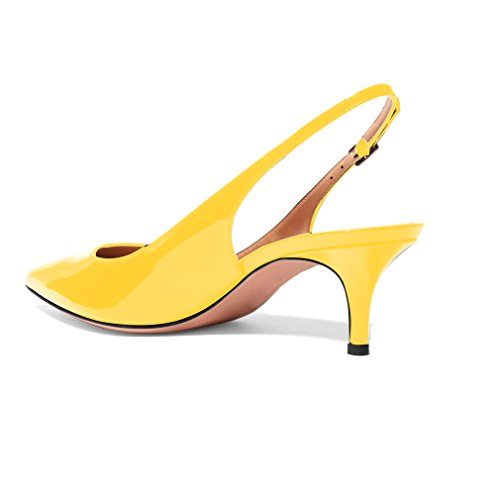 Evening Strap Heels Pumps Slingback Toe 5cm Yellow Kitten Pointed Shoes Stiletto Eldof Leather Patent Ankle Women's 6 0qwKPfWg