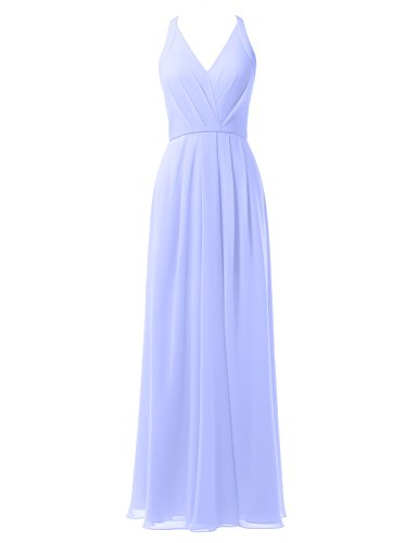Bridesmaid Party V Maxi Gown Long Neck Alicepub Formal Chiffon Lavender Evening Dress Dress qFH8CtS