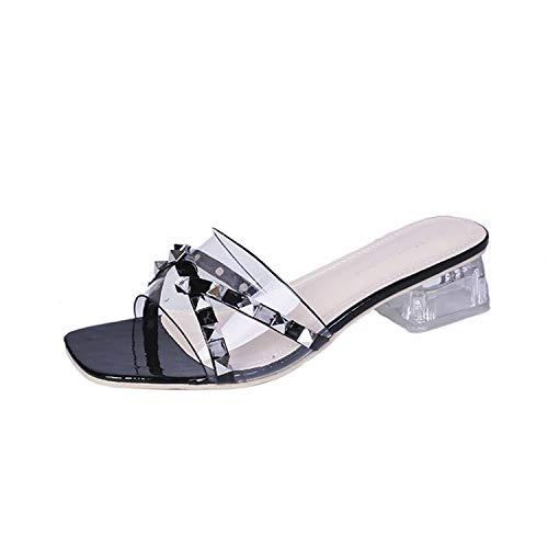 Stree Corner Summer Slippers Pearl River Square Mid Heels Slippers Female Shoes Women Mules Slides,Black,6 ()
