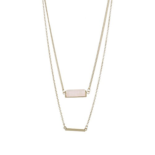 Fettero Womens Natural Stone Double Layer Pendant Long Chain Necklace 14K Gold Plated with Rose Quartz Stone
