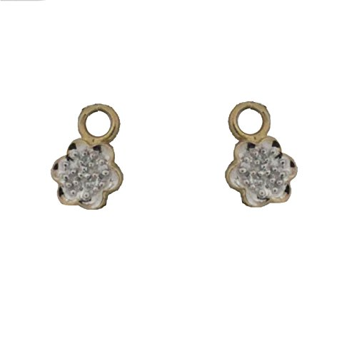 18KT Yellow Gold Diamonds Flower Charms (9mm/3mm Ring)