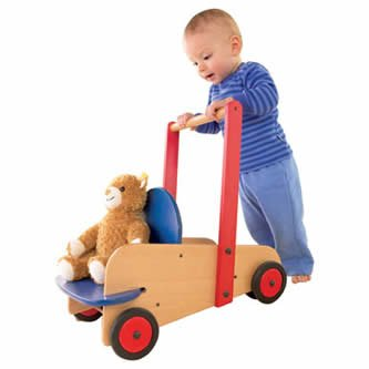 - HABA Walker Wagon - First Wooden Push Toy with Seat & Storage for 10 Months and Up (Made in Germany)