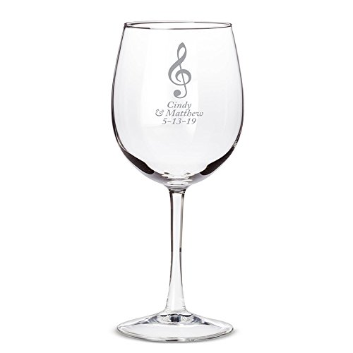 Personalized Color Printed 12oz Wine Glass - Musical Note - Silver - 144 pack by Abby Smith
