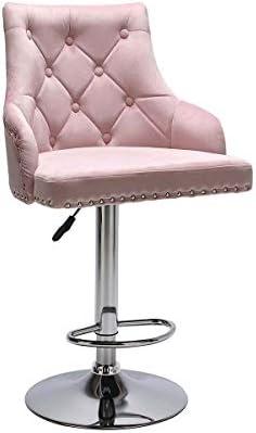 Velvet Bar Stool Chairs Studded Barstool