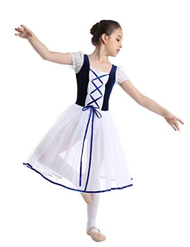 CHICTRY Girls Child Romantic Ballet Tutu Long Fancy Tulle Skating Dress Velvet Top Ballerina Dancewear Royal Blue 10-12