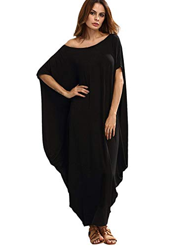 Verdusa Women's One Off Shoulder Caftan Sleeve Harem Maxi Dress Black M