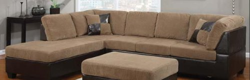 Acme Furniture 55945 Connell Sectional Sofa with Left Facing Chaise Right Facing Sofa Accent Pillows Wood Frame Corduroy and Espresso Bycast PU Leather Upholstery in Light