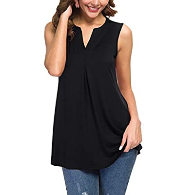 Neineiwu Women's Summer Sleeveless V Neck Casual Tank Tops Blouse Shirts at Women's Clothing store